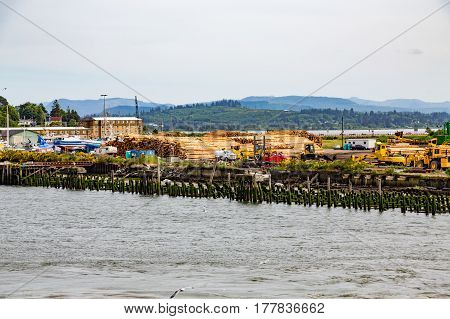 Logging and shipping operation on the coast of Oregon near Astoria