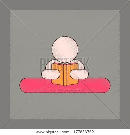 flat shading style icon of man reading book