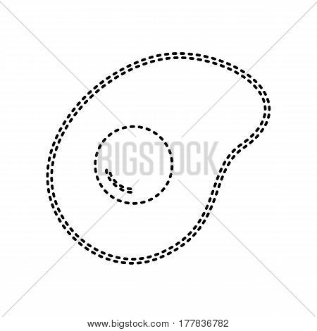 Vector illustration of omelette. Flat designed style icon. Vector. Black dashed icon on white background. Isolated.