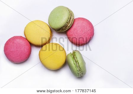 Colorful Macaron, Tasty Cookies Isolated On White Background