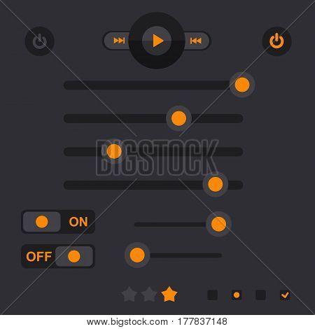 Player Interface, Design Element, Vector Set, Mobile App, Smartphone, Tablet, Web Tab, Navigation Ba