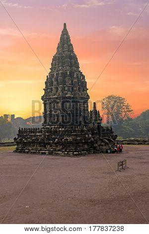Prambanan temple near Yogyakarta on Java island, Indonesia Asia at sunset