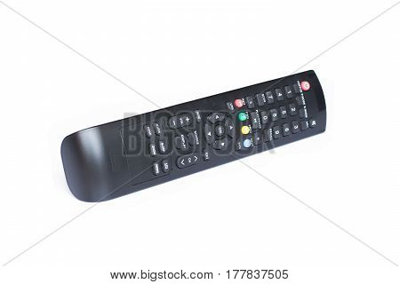 remote control for TV satellite receiver isolated on white background.