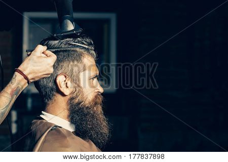 Bearded Man Getting Hair Styling By Hairdresser At Barbershop