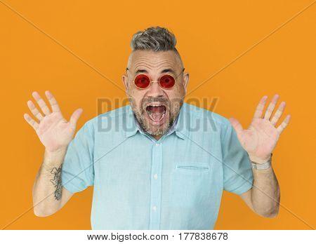 Old Man Shock Hands Up
