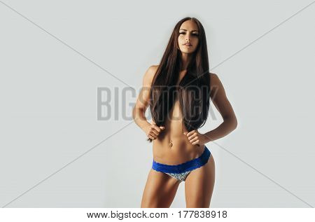 Pretty Sexy Girl With Long Hair In Blue Panties