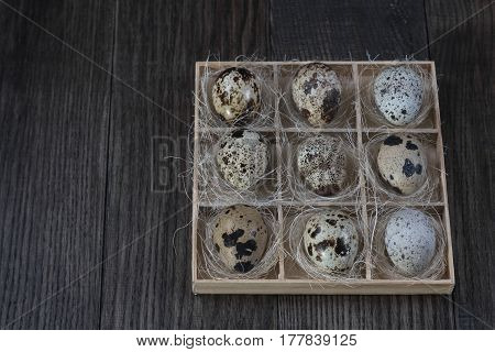 Quail eggs  in wooden box on dark background. Eco products