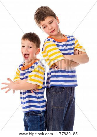 Two funny boys standing together isolated on white background
