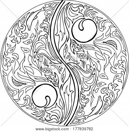 Mandala: yin yang symbol. Digital vector illustration.