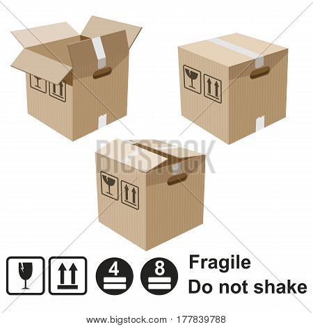 Realistic cardboard box with warning signs vector 3d elements