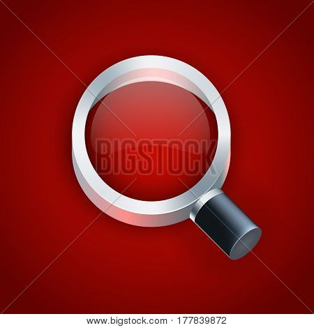 Vector magnifying glass on red background illustration