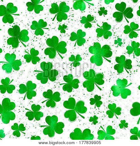 Vector seamless pattern with green watercolor clover