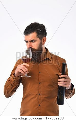 Bearded Man Hipster With Wine Bottle, Glass In Brown Shirt