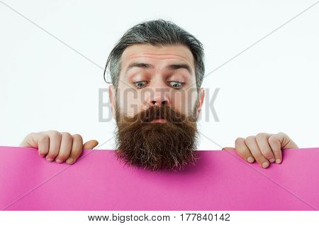 Surprised Bearded Man Hipster With Violet Paper Isolated On White