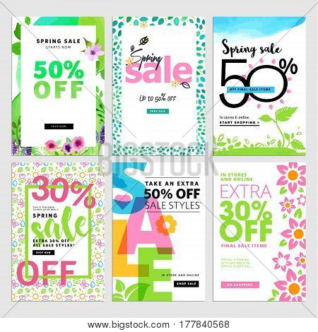 Eye catching spring sale banners set. Vector illustrations of online shopping website and mobile website banners, posters, newsletter designs, ads, coupons, social media banners.