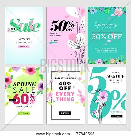 Set of mobile spring sale banners. Vector illustrations of online shopping website and mobile website banners, posters, newsletter designs, ads, coupons, social media banners.