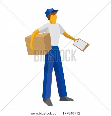 Delivery Man Holding Carton Box And Papers