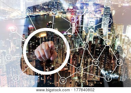Double Exposure Of Businessman Points On Screen, Wireless Connecting Concept