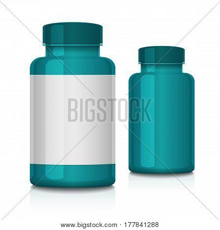 Medical Plastic Green Bottle. Mock up bottle on white background. Vector illustration