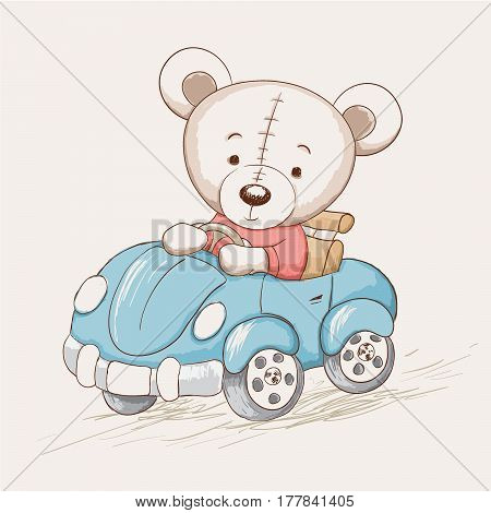 cute funny bear drive a car.Childish vector illustration