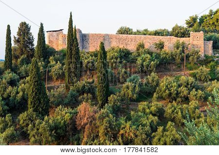 View of the castle of Androussa in Peloponnese, Greece