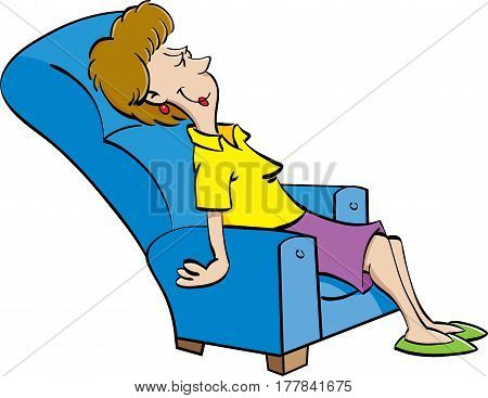 Cartoon illustration of a woman resting in a chair.