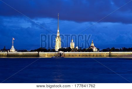 River Neva and Peter and Paul Fortress at night in St.Petersburg Russia.