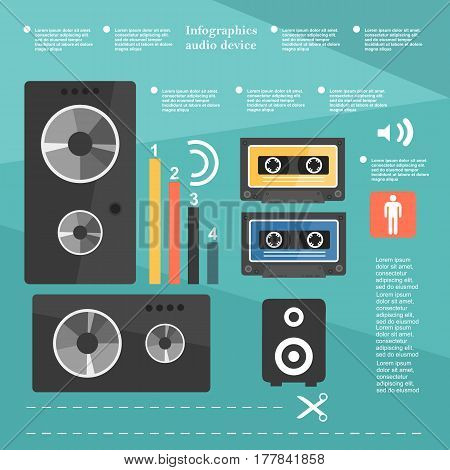 Retro Infographic Audio Device, Music Cassette, Music Speakers, The Elements In A Flat Design