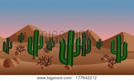 Desert landscape background. with sand dunes and exotic cactus bushes. Horizontally seamless can be used in game asset. Vector Illustration