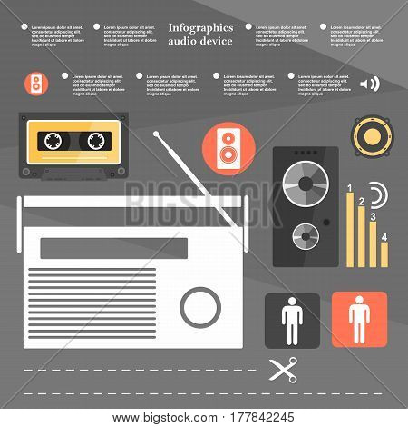 Retro infographic audio device music cassette music speakers the elements in a flat design