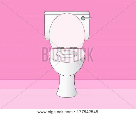 an illustration of a clean white toilet in a pink bathroom with space for text