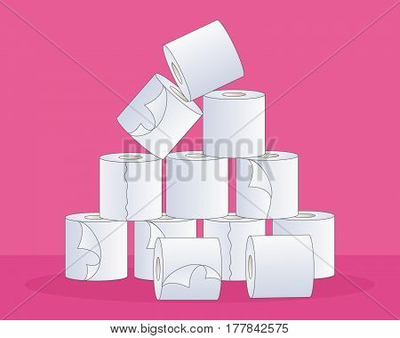 an illustration of a pile of soft white toilet rolls in a pyramid shape on a bright pink background