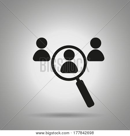 find person icon  Magnifier and people . Set employer