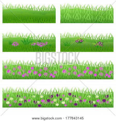Set of garden flowers in grass. Flowers green leaves grass compositions can be used as elements for scenes and landscape backgrounds creating. Vector illustration isolated on white background