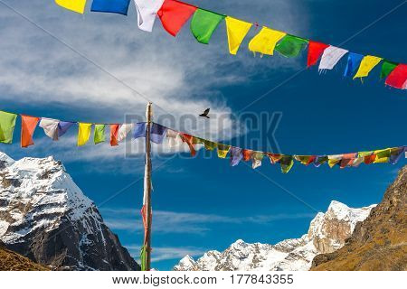 Colorful View of traditional Nepalese Prayer Flags hanging on Rocks and Wind and high Altitude Himalaya Mountains with Bird flying in blue Sky