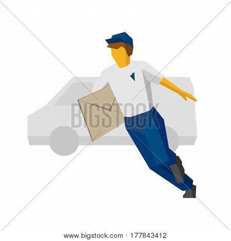 Running Delivery Man In Blue Holding Big Postal Envelope