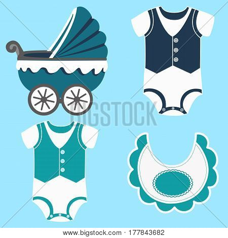 Icon set baby bib bodysuit for a boy and baby carriage. Vector illustration.