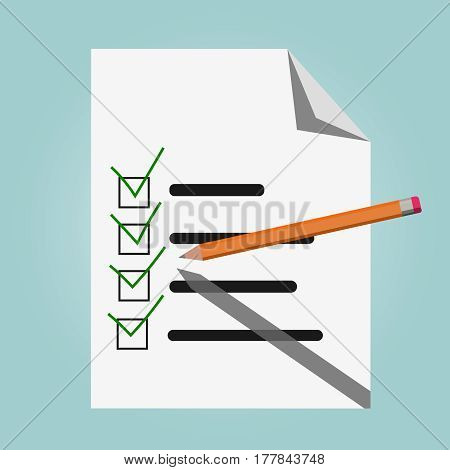Check list vector Pencil and green check marks