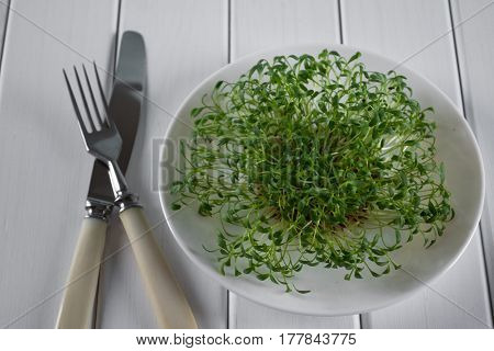 Garden cress on white plate with fork and knife. Healthy vegetarian food.Fresh herbs.