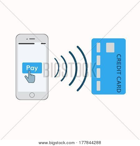 mobile payments illustration . Mobile phone with pay button and credit card