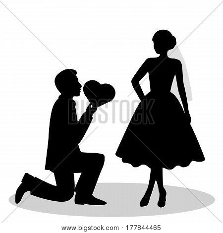 The black silhouette of a bride and groom isolated on white background. Bride and groom. Vector illustration.