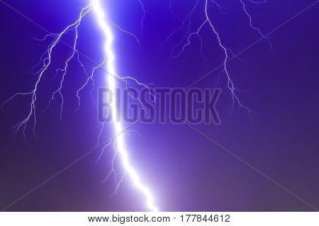 Dramatic Thunder Storm Lighting Bolt Over The Sky, God Power