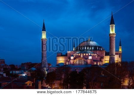 Famous Sophia cathedral Historical landmark in Istanbul old city illuminated with Night spotlights