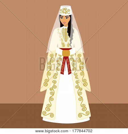 Traditional Caucasian bride. Armenian bride. Bride in wedding dress. Vector illustration.