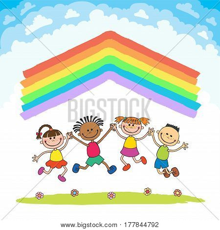 Kids jumping with joy on a meadow under rainbow roof, colorful cartoon vector isolated