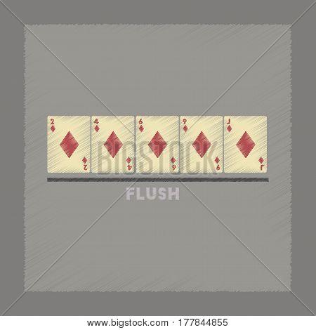 flat shading style icon poker flush cards