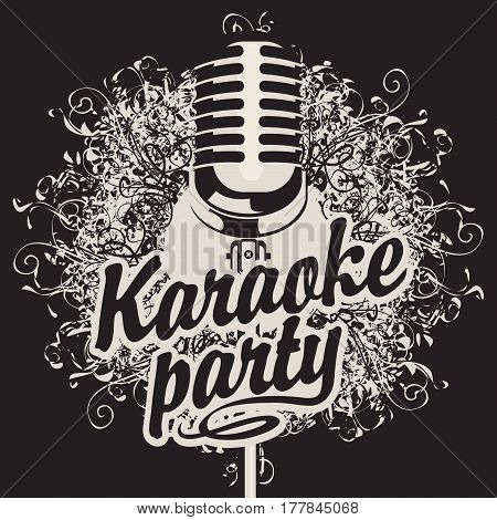 Vector Banner with microphone and inscription karaoke party on the art background