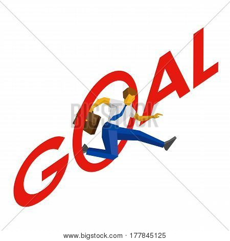 Businessman Jump Throw Letter O In Word 'goal'