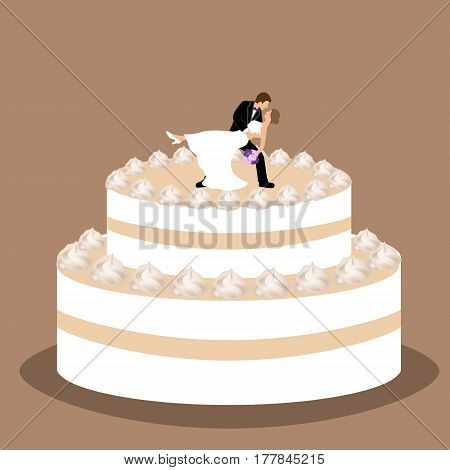 Wedding cake with bride and groom figurine. Cake with cream. Vector illustration.