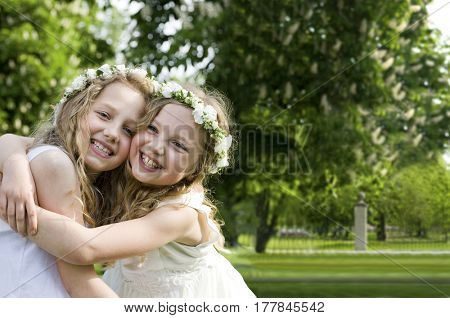 Happy girlfriends - First Communion